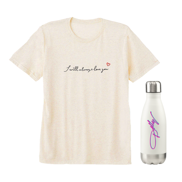 I WILL ALWAYS LOVE YOU EMBROIDERED TEE AND WATER BOTTLE BUNDLE