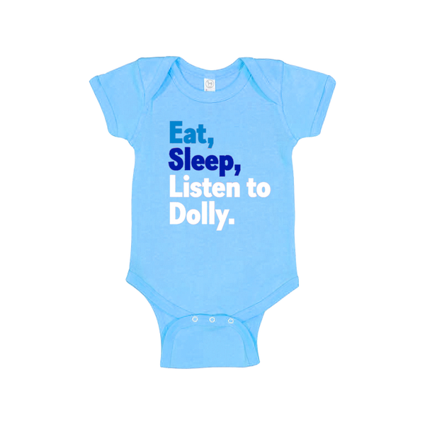 EAT SLEEP DOLLY BLUE ONESIE