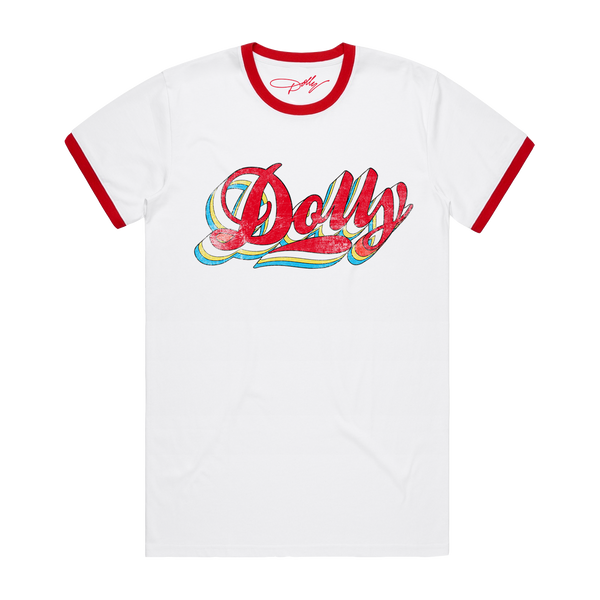 DOLLY VINTAGE LOGO RED & WHITE RINGER TEE