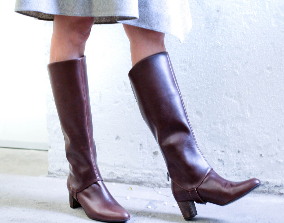 LAST CHANCE EDITOR Knee High Boot Upper Tan & Burgundy