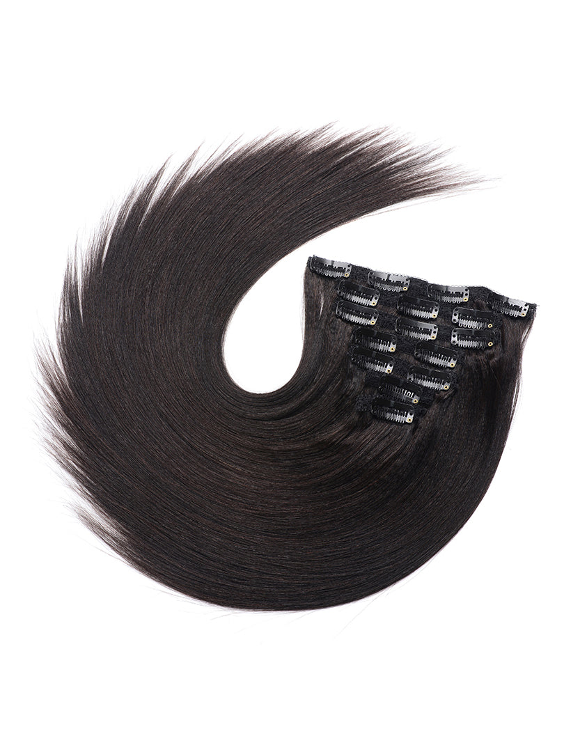 Lustro Yaki Straight  7pcs Clip-in Human Hair Extensions