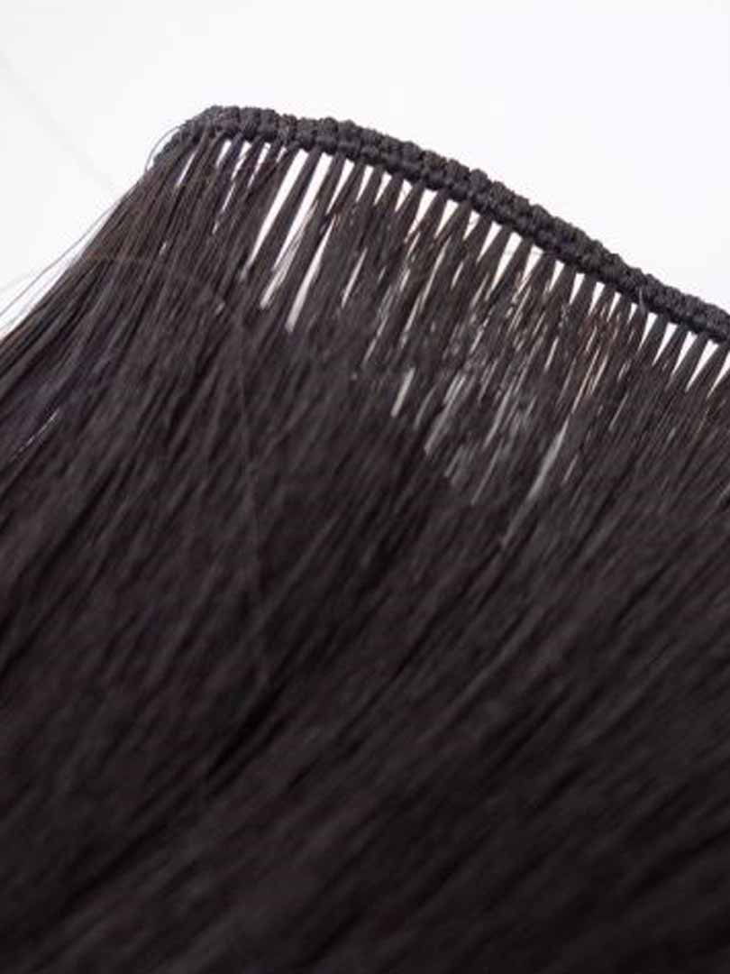 Lustro Hand-Tied Weft Natural Black(#1B) Remy Human Hair Extension(100 Grams)