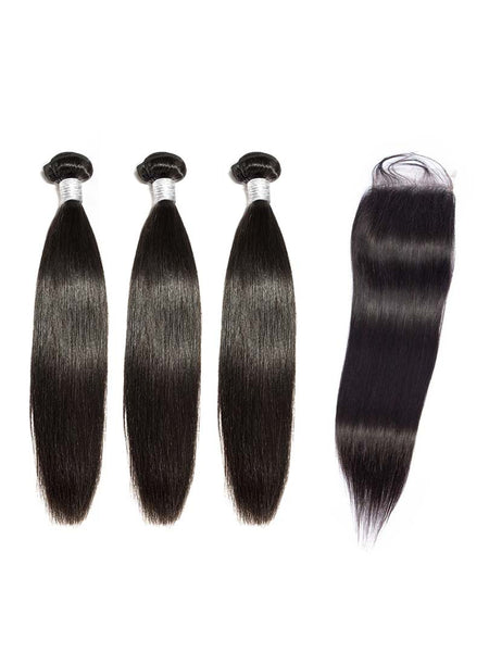 Lustro Straight 3pcs Double Weft Bundles with Closure