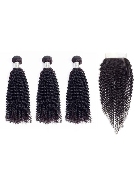 Lustro Kinky Curly 3pcs Double Weft Bundles with Closure