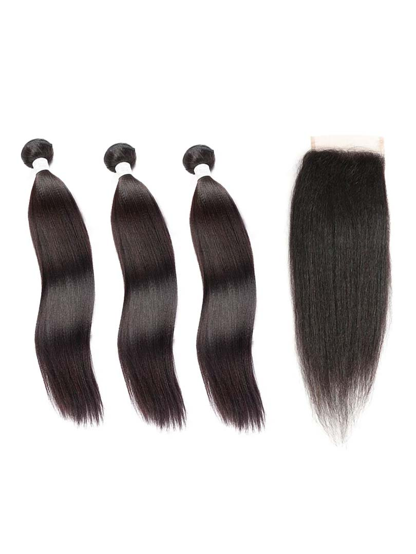 Lustro Yaki Straight 3pcs Double Weft Bundles with Closure