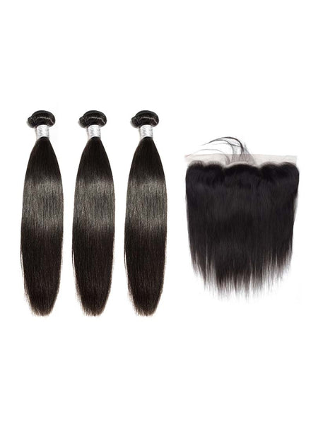 Lustro Straight 3pcs Double Weft Bundles with Frontal