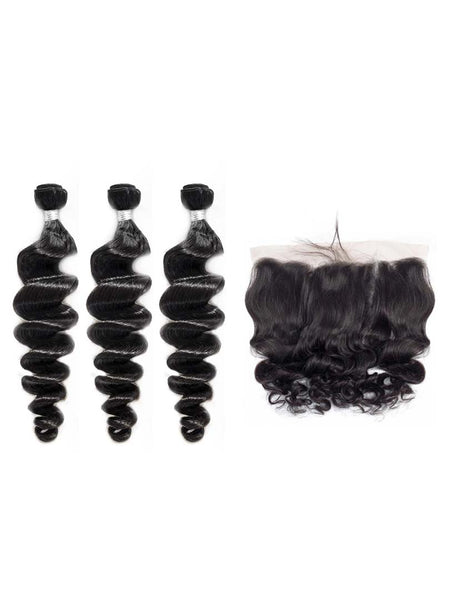Lustro Loose Wave 3pcs Double Weft Bundles with Frontal