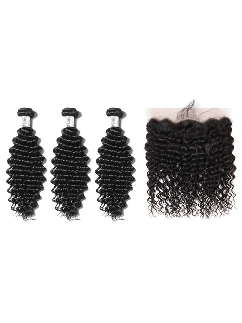 Lustro Deep Wave 3pcs Double Weft Bundles with Frontal