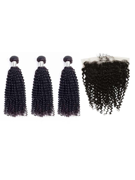 Lustro Kinky Curly 3pcs Double Weft Bundles with Frontal