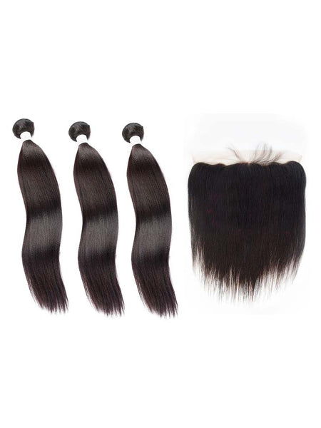 Lustro Yaki Straight 3pcs Double Weft Bundles with Frontal