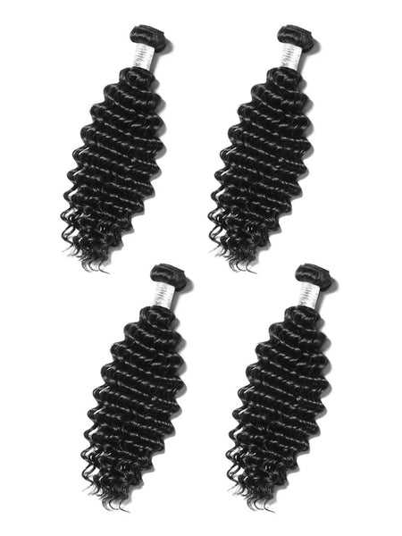Lustro Deep Wave 4pcs Double Weft Remy Human Hair Bundles