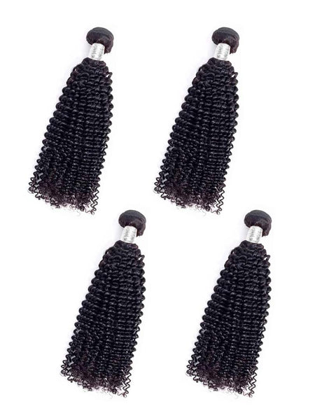 Lustro Kinky Curly 4pcs Double Weft Remy Human Hair Bundles