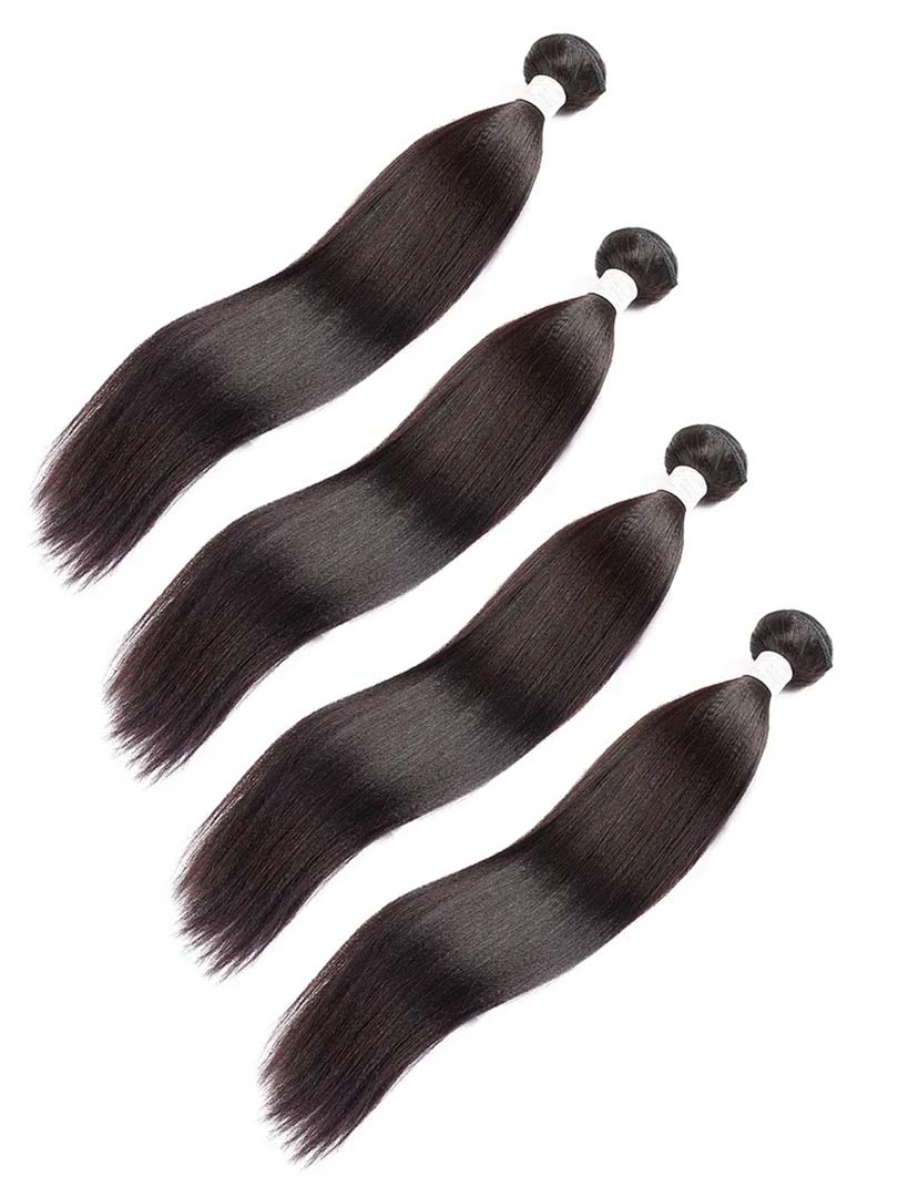 Lustro Yaki Straight 4pcs Double Weft Remy Human Hair Bundles