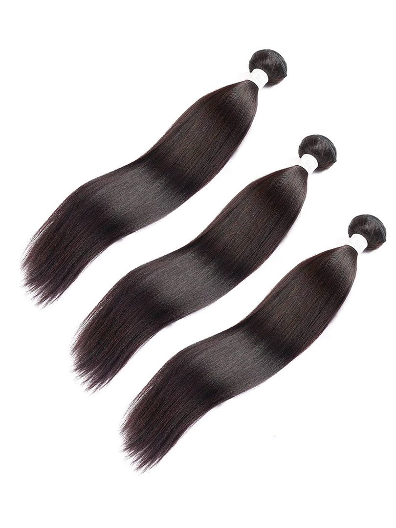 Lustro Yaki Straight 3pcs Double Weft Remy Human Hair Bundles