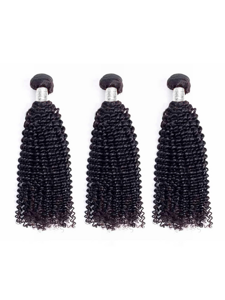 Lustro Kinky Curly 3pcs Double Weft Remy Human Hair Bundles