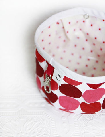 Squishy Travel Pet Bowl in Cherry Dots