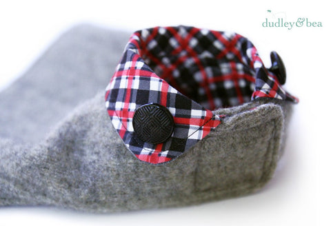 Grey Wool and Tartan Dog Coat - XS-LONG