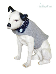 Grey Reclaimed Wool Dog Coat with Navy Polka-Dot Collar - Size M