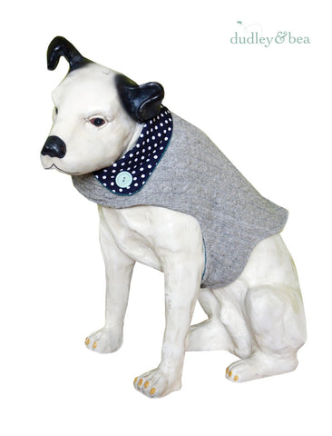 Grey Reclaimed Wool Dog Coat – Medium