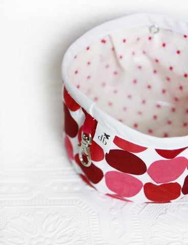 Squishy Travel Pet Water Bowl - Cherry Dots