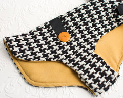 Houndstooth and Mustard Lightweight Dog Coat - Size XS