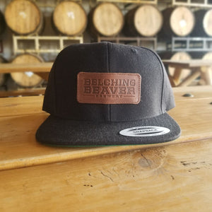 Black Leather Patch Snapback