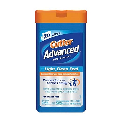 Cutter Advanced Wipes with 5.75% Picaridin, 20 Count  by