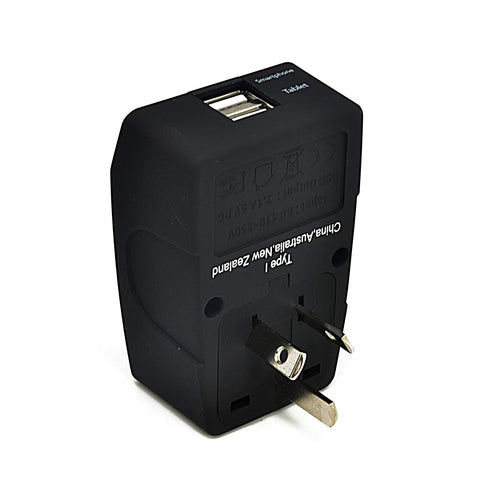 Adaptor Plug for Australia, NZ & China - Ceptics CTU - USA to Australia, New Zealand, China Travel Adapter Plug With Dual USB