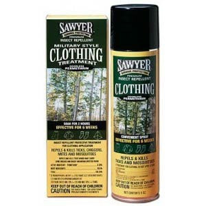 SAWYER PERMETHRIN AEROSOL plus clothing soak for travel and camping