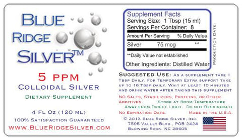 5 ppm Colloidal Silver - 4 oz Glass