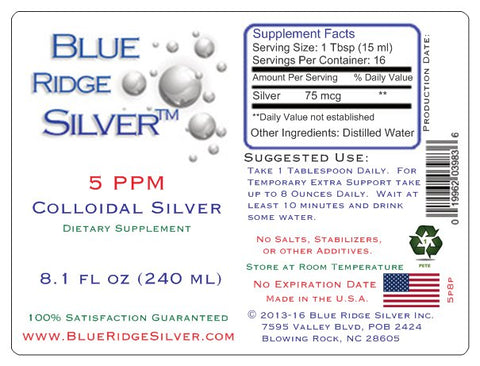 5 ppm Colloidal Silver - 8 oz PETE