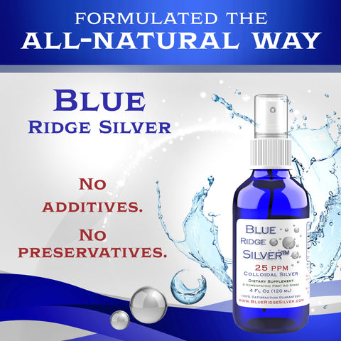 25 ppm Colloidal Silver - 4 oz Horizontal Spray