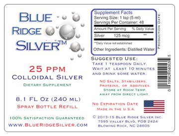 25 ppm 8 Oz Colloidal Silver - Glass