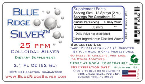 25 ppm Colloidal Silver - 2 oz Vertical Spray