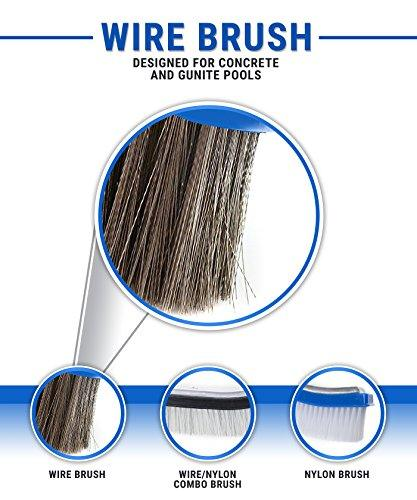 Milliard 10 inch Wide Heavy Duty Stainless Steel Wire Pool Brush for Tough Algae and Stains