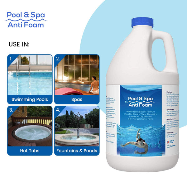 Pool & Spa Anti Foam Defoamer Foam Remover for Pools, Spas, Hot Tubs, Fountains
