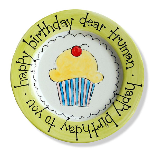 Ceramic Birthday Plates - Cupcake Cake Personalized First 1st u2013 Polkadots u0026 Moonbeams  sc 1 st  Polkadots u0026 Moonbeams & Ceramic Birthday Plates - Cupcake Cake Personalized First 1st ...