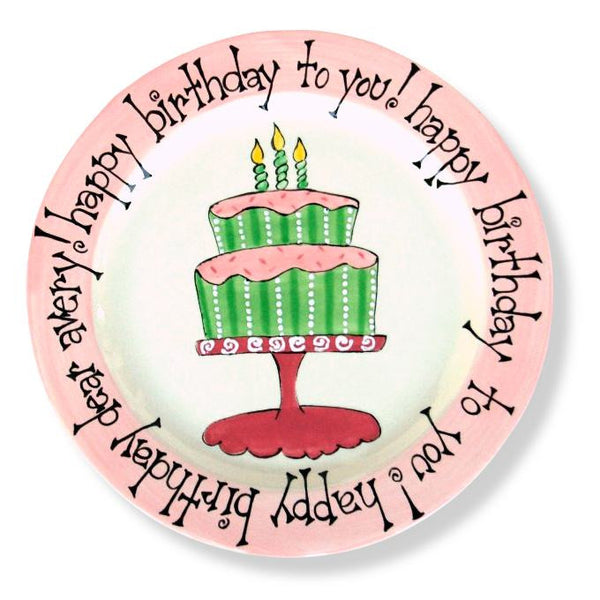 Cake Stand Ceramic Birthday Plate  sc 1 st  Polkadots \u0026 Moonbeams & Ceramic Birthday Plates - Cupcake Cake Personalized First 1st ...