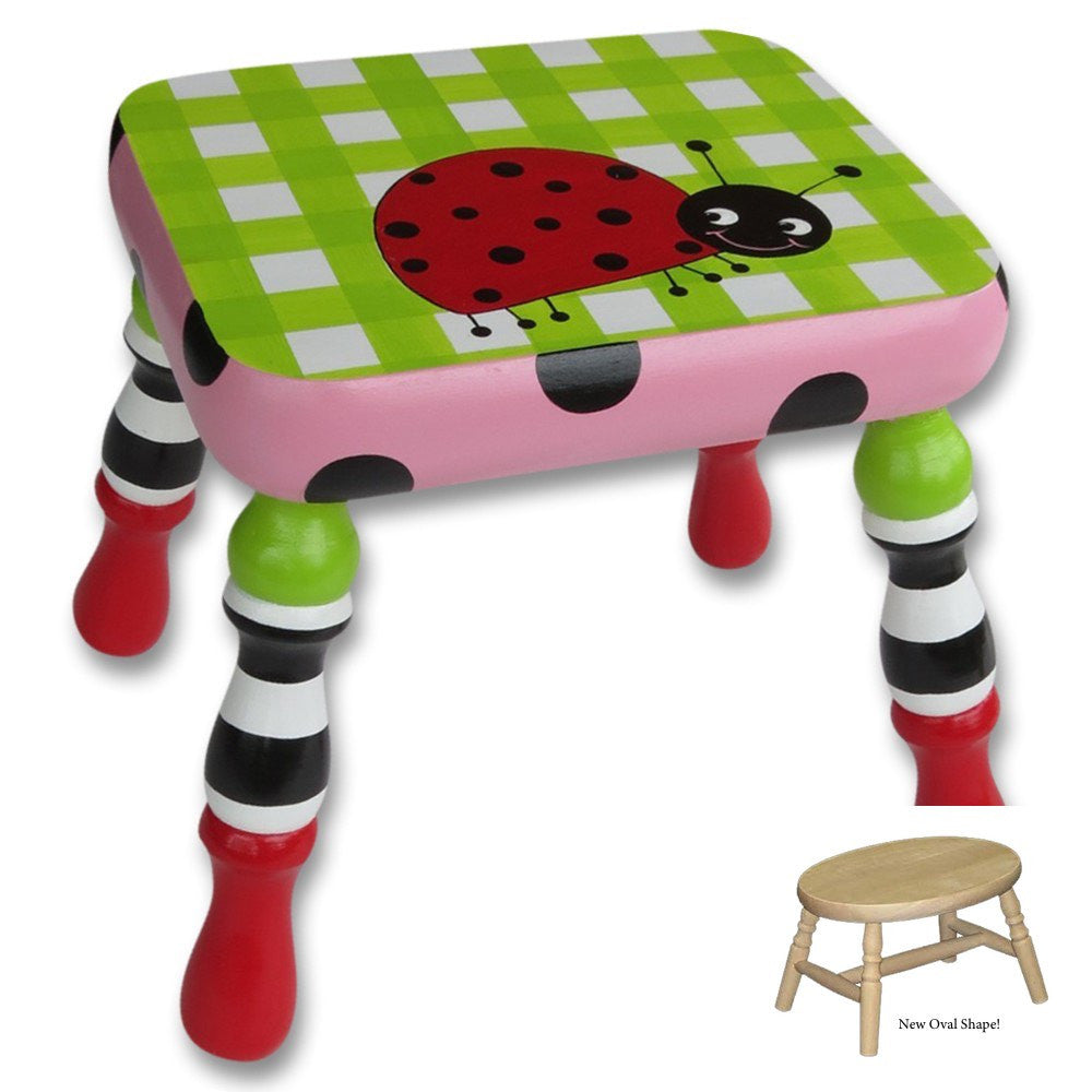 Ladybug hand painted footstool personalized gift for baby or child v negle Choice Image