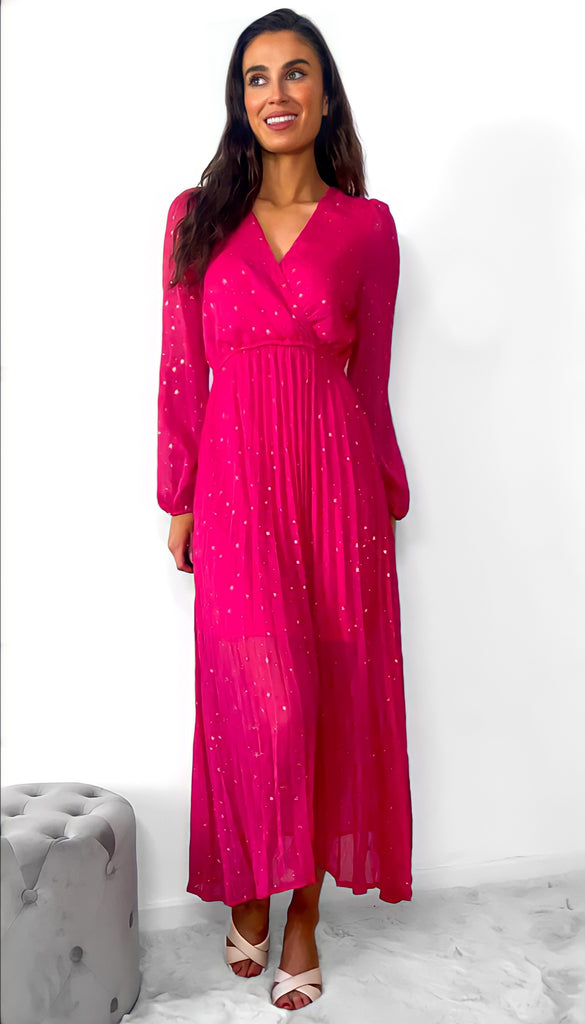 7642 Fuschia Gold Star Dress
