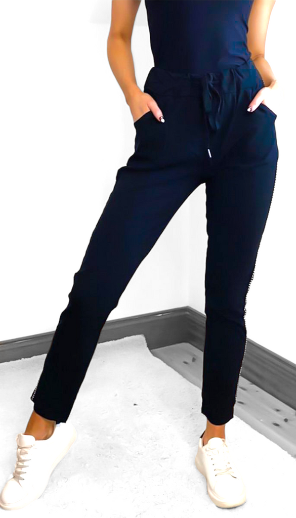 1-7585 Navy Side Applique Joggers