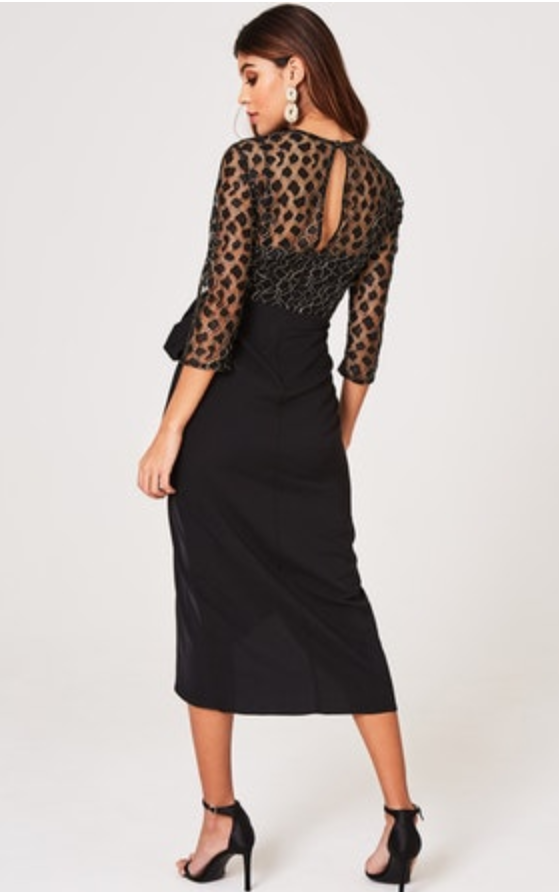 0000 5909 Ralia Black Lace Bodice Dress