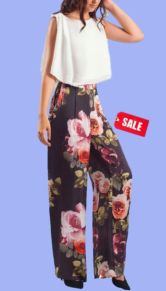 4-4640 Floral Wide Leg Trousers