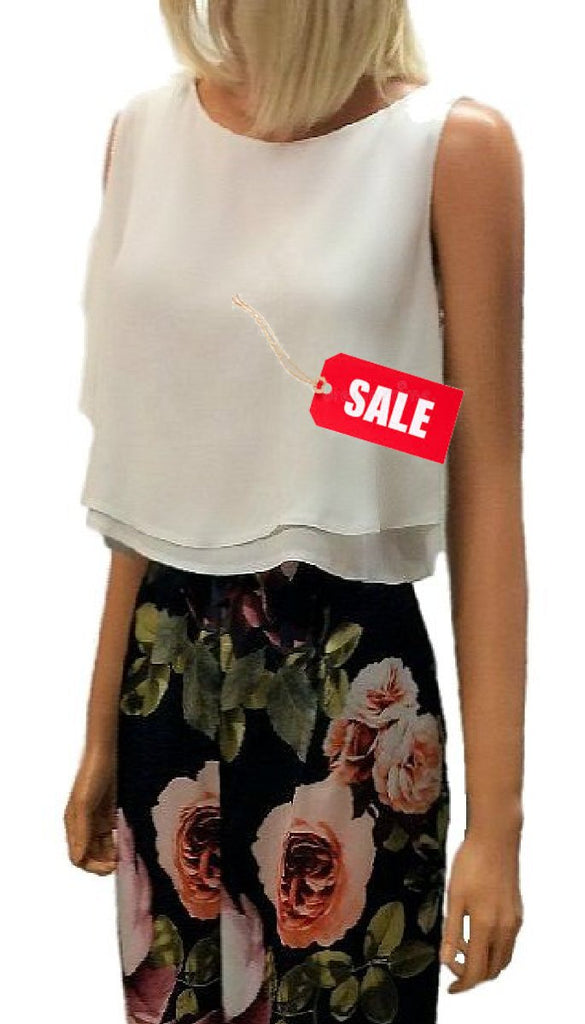 4-4641 White Flowy Crop Top