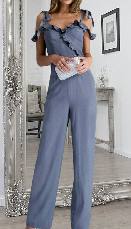 4-4651 Frill Cold Shoulder Jumpsuit