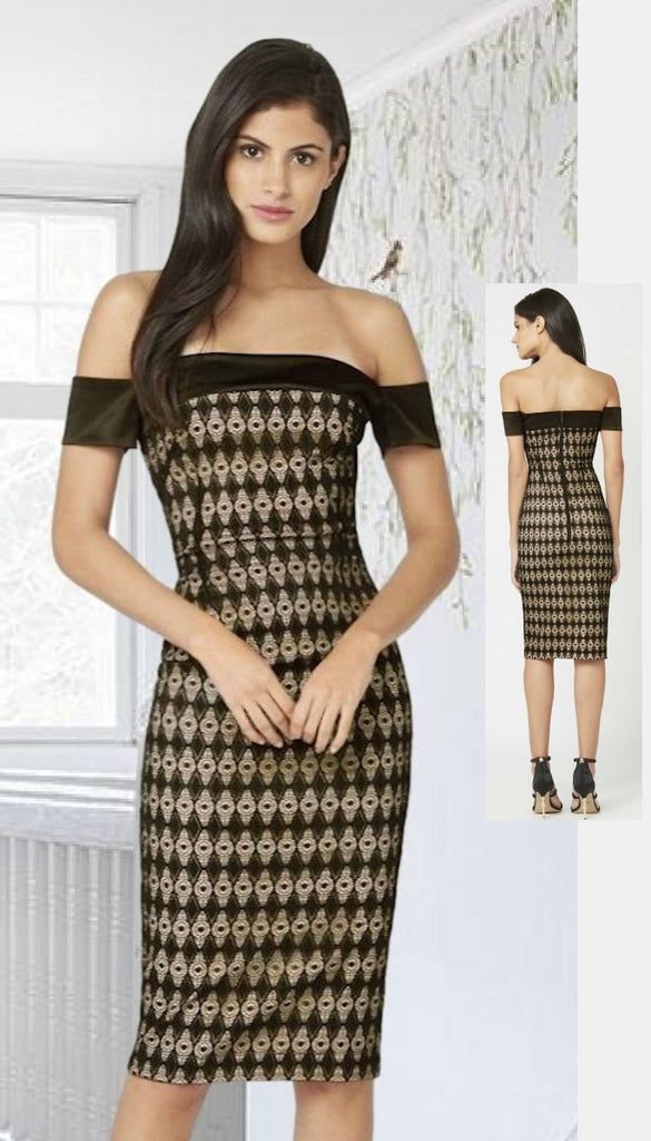 4-4652 (SIZE 16 ONLY) Geo Lace Bardot Dress