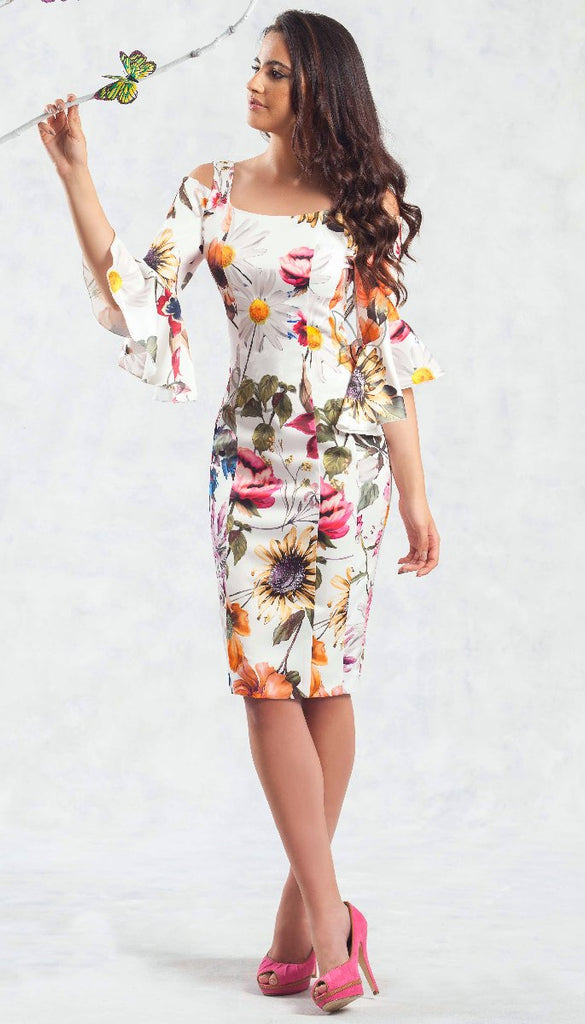 4691 (SIZE 14 ONLY) Cream Floral Cold Shoulder Dress