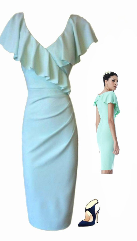 4701 Mint Frill Neck Midi Dress
