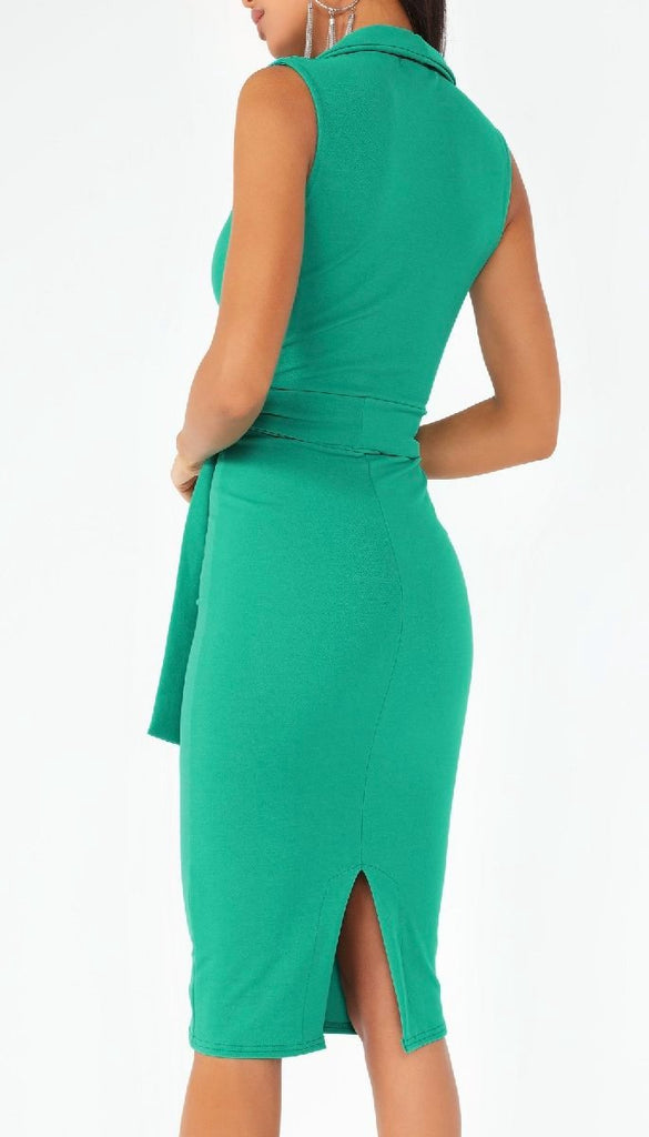 4734 Green Tuxedo Style Dress