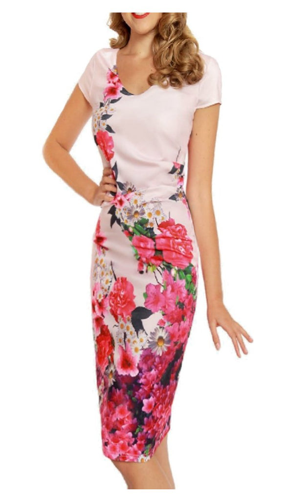 Pink Floral Print Rouched Dresses | dresses online | party dresses ...